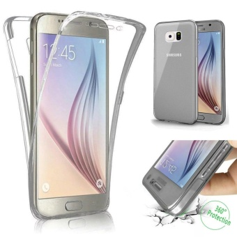 Scratch Proof 360 Front and Back Full Body Protection Transparent Flexible TPU Bumper Case Anti-Scratch Protective Case for Samsung Galaxy S6 Edge Plus - intl