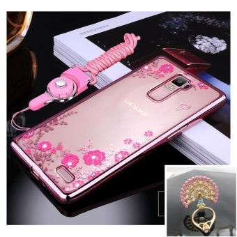 Secret Garden Plating TPU phone case For Oppo R7 Plus (Rose Gold+Peacock)