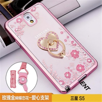 Secret Garden Plating TPU phone case For Samsung Galaxy S5 (i9600)(Rose Gold+love) - intl