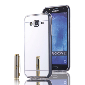 Shockproof Frame Mirror PC Back Case for Samsung Galaxy J7 (2015)(Silver) - intl