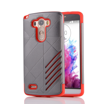 Silicon + PC Combo Case for LG G3 (Grey+Red) - Intl