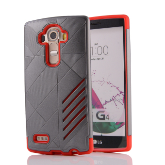 Silicon + PC Combo Case for LG G4 (Grey+Red) - Intl