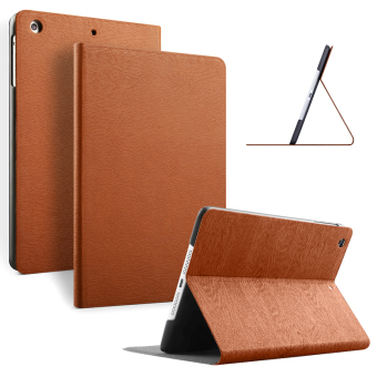 Slim Wood Grain Case PU Leather Cover for Apple iPad mini 3 / 2 / 1(Brown)