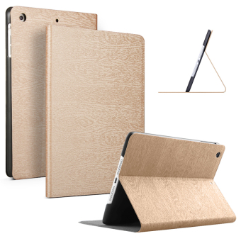 Slim Wood Grain Case PU Leather Cover for Apple iPad mini 3 / 2 / 1(Gold)