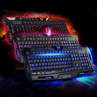 SOCUM LED Backlight Changing 3Color in one USB GAME GamingKeyboard(BLACK)