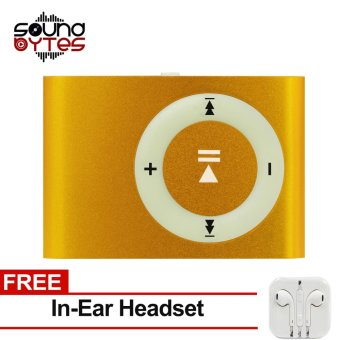 Sound Bytes Mini Metal Clip MP3 Player (Gold) with FREE In-Ear Headset