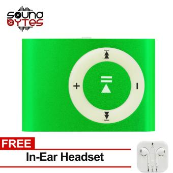 Sound Bytes Mini Metal Clip MP3 Player (Light green) with FREE In-Ear Headset