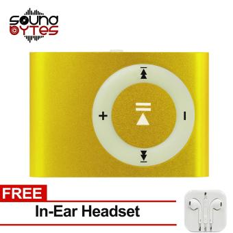 Sound Bytes Mini Metal Clip MP3 Player (Light yellow) with FREE In-Ear Headset