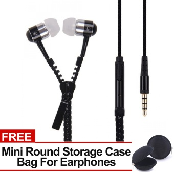 Sound Bytes Super Bass Zipper In-Ear Earphones (Black) with FREEMini Round Storage Case Bag For Earphones Price Philippines