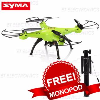 Syma X5HW WIFI FPV Quadocpter With Camera 2.4G 4CH 6Axis High HoldMode Remote Control Quadcopter Drone RTF Mode 2 (Green) With freeMonopod