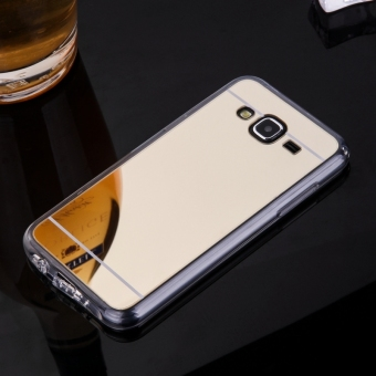TPU Bumper Frame Mirror Effect PC Case Cover For Samsung Galaxy J5(2015) (Golden) - intl