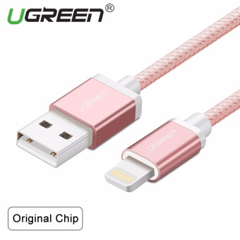 UGREEN Metal Alloy Original USB Lightning Cable USB Charger CordNylon Bradied Design for iPhone 4 5 6 7 iPad - Rose Gold,1M - intl