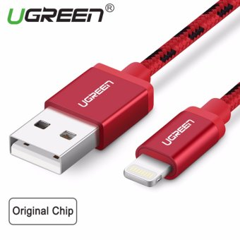 UGREEN Metal Alloy USB Lightning Cable USB Charger Cable NylonBradied Design for iPhone 4 5 6 7 iPad - Red,0.5M - intl