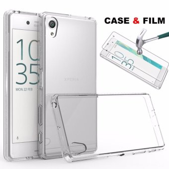 Ultra Slim Clear Gel Skin Case Cover + Tempered Glass for Sony Xperia XA - intl