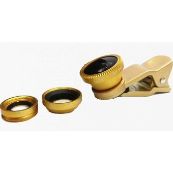 Universal 3-in-1 Clip-On Wide Angle + Fisheye + Macro Lens Set forSmartphone and Tablet Camera (Gold)
