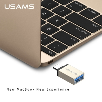 USAMS Metal USB-C Type C Male to USB 3.0 Female Type-C ConverterAdapter OTG Function for Android (Gold)