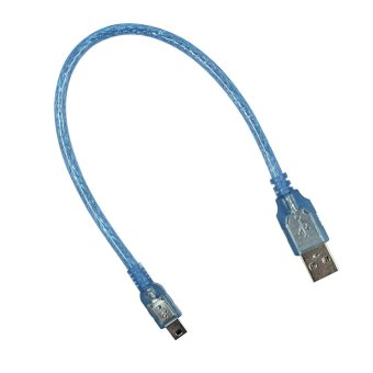 USB 2 Male to Mini USB Male Data Charging Cable 0 Translucent Blue