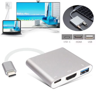 USB C Digital AV Multiport Adapter, Type C USB 3.1 Hub USB C toHDMI 4K Adapter Type C Female Charger Adapter and USB 3.0 for 2016MacBook Pro MacBook Google Chromebook Pixel and other Type Cdevices