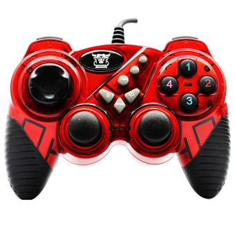 USB GAME PAD Double Shock Controller for PC Computer (Red)