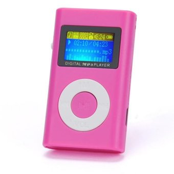 USB Mini MP3 Player LCD Screen Support 32GB Micro SD TF Card HotPink - intl