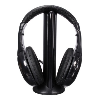 V SHOW 5In1 Hifi Stereo Wireless Headset Headphone FmMonitorwithMic For Pc Tv Mp3 Phone (Black) - intl