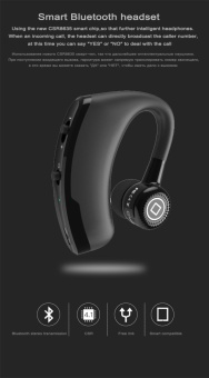 V9 Handsfree Business Bluetooth Headphone With Mic Voice Control Wireless Bluetooth Headset For Drive Noise Cancelling - Black - intl Price Philippines