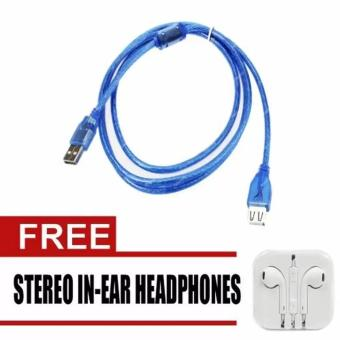 Verygood Computer Cable USB 2.0 Male to Micro 1.5m (Blue) with freeStereo In-Ear Headphones (White)
