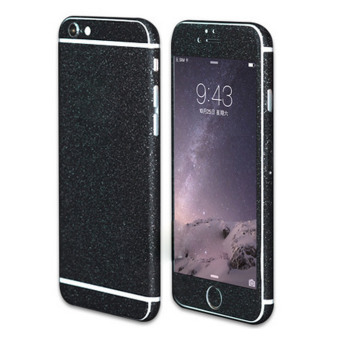 Vococal Ultra-thin Full Body Removable Traceless Protective MatteGlitter Sticker Skin Wrap Cover Film for iPhone 6 Plus 6S Plus(Black)