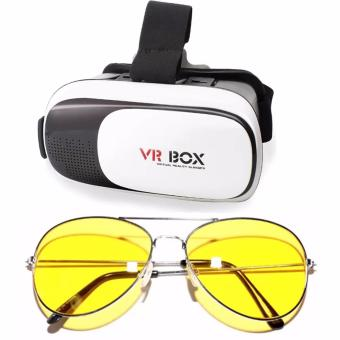 VR Box 3D Virtual Reality Glasses for Smartphone (White/Black) WithNight View Glasses (Yellow)