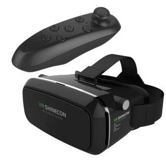 VR Box Shinecon Smartphone 3D Virtual Reality Glasses (Black) withBluetooth VR Remote Controller (Black) Price Philippines