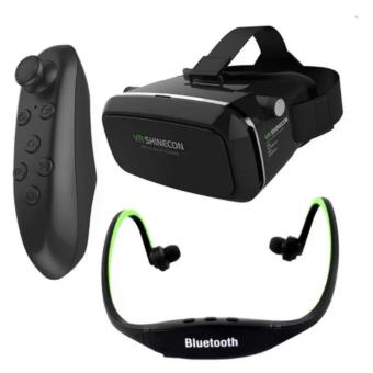 VR Box Shinecon Smartphone 3D Virtual Reality Glasses (Black) withBluetooth VR Remote Controller (Black) And Sports Stereo BluetoothHeadphone With Mic Price Philippines