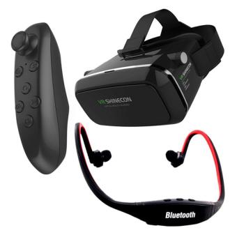 VR Box Shinecon Smartphone 3D Virtual Reality Glasses (Black) withBluetooth VR Remote Controller (Black) And Sports Stereo BluetoothHeadphone With Mic (Black/Red)
