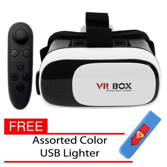 Vr Box Virtual Reality 3D Glasses for Smart Phone and UniversalRemote (Black) With Free Assorted Color USB Lighter
