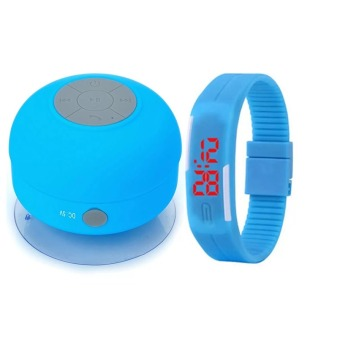 Water Resistant Silicone Bluetooth Speaker (Blue) with New FashionSport LED Silicone Rubber Touch Screen Digital WaterproofWristwatch (Colors may vary)