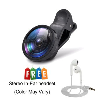 Wawawei Universal 180 degree telescope Clip Camera Lens Super Wide0.4x Selfie Cam Lens of Android and iPhone Apple(Black)with FreeStereo In-Ear Headset