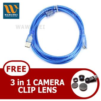 Wawawei Wawawei USB Extension Cord 1.5 Male To Female Computer DataCable (Blue) With Free 3-in1 Camera Clip Lens
