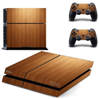 Wooden Board Texture Design Decal PS4 Skin Sticker For SonyPlaystation 4 Console protection film +2Pcs Controllers ProtectiveCover DPTM1479 - intl
