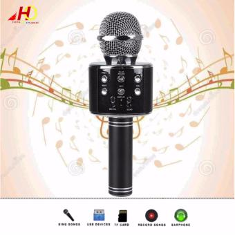 WS-858 Wireless Bluetooth Microphone MIC Recording CondenserHandheld Microphone Stand W/ Speaker WS858 for Mobile Phone Karaoke(Black)