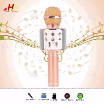 WS-858 Wireless Bluetooth Microphone MIC Recording CondenserHandheld Microphone Stand W/ Speaker WS858 for Mobile Phone Karaoke(RoseGold)