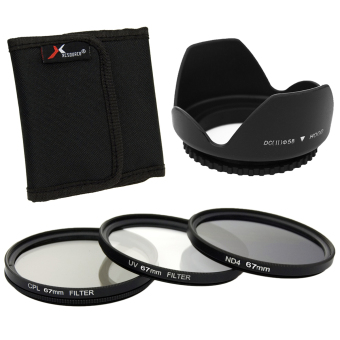 XCS(R) UV CPL ND4 Filter + Lens Hood 67mm for Canon EOS 1100D 1000D 6D 7D 5D LF284-SZ (Black)