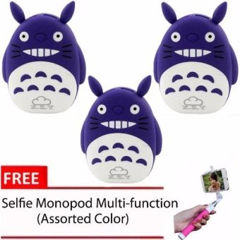 XZY 1011 Totoro Power Bank (Violet) Set of 3With Free Monopod(Assorted Color)