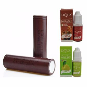 XZY- LG 18650 3000mAh Flat Top Rechargeable Battery (Choco) Set of2 with 2 Liqua Juicer Assorted Flavor