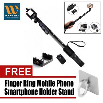 Yunteng YT-1288 42.5cm Bluetooth Selfie Monopod Extendable HandheldPole with Shutter Remote Control with free Finger Ring MobilePhone Smartphone Holder Stand for iPhone (Color May Vary)