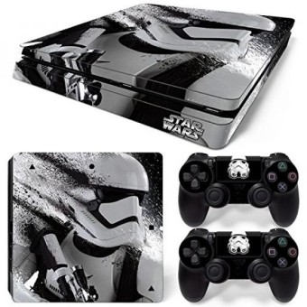 ZoomHit Ps4 Slim Playstation 4 Slim Console Skin Decal Sticker Star Wars Stormtrooper + 2 Controller