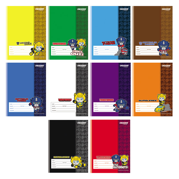 Image of Orions Transformers Color Coding Composition Notebook Set of 10