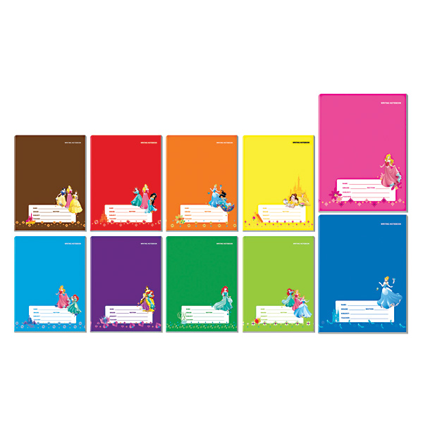 Image of Orions Disney Princess Color Coding Writing Notebook Set of 10