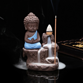 1 Calm Ceramic Incense Burners Aromatherapy Creative Little MonkCenser Backflow Stick Incense Burner Buddha Crafts Home Decor T0 -intl