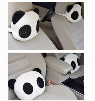 1 pair (2 pcs) car headrest neck pillow car seat headrest cushionpanda pillow automobiles accessories - intl