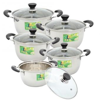 10 Piece Classic Stockpot Stainless Steel Glass Lid 16-24cm