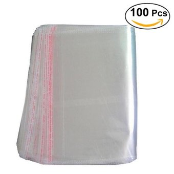 100pcs 40 * 50cm Clear Plastic Cello Bags Grip Peel & SealStrong Packing Self Adhesive Cellophane Bag - intl